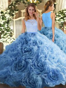 Luxurious Baby Blue Fabric With Rolling Flowers Zipper Scoop Sleeveless Floor Length Vestidos de Quinceanera Beading and Ruffles