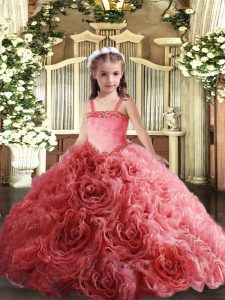 Ball Gowns Girls Pageant Dresses Coral Red Straps Fabric With Rolling Flowers Sleeveless Floor Length Lace Up