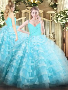 Aqua Blue Ball Gowns Organza Spaghetti Straps Sleeveless Ruffled Layers Floor Length Zipper 15th Birthday Dress