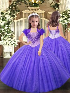 Beautiful Lavender Sleeveless Tulle Lace Up Evening Gowns for Party and Sweet 16 and Quinceanera and Wedding Party