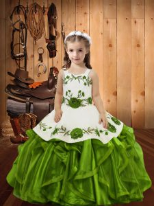 Ball Gowns Child Pageant Dress Olive Green Straps Organza Sleeveless Floor Length Lace Up