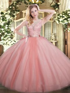 Fantastic Ball Gowns Sweet 16 Quinceanera Dress Baby Pink Scoop Tulle Sleeveless Floor Length Backless