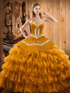 Customized Satin and Organza Sleeveless Floor Length 15 Quinceanera Dress and Embroidery and Ruffled Layers