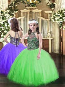 Green Lace Up Halter Top Beading Pageant Dress Womens Tulle Sleeveless