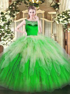 Clearance Ball Gowns Ball Gown Prom Dress Green Scoop Organza Sleeveless Floor Length Zipper