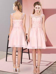 Baby Pink Zipper Quinceanera Court of Honor Dress Appliques Sleeveless Knee Length