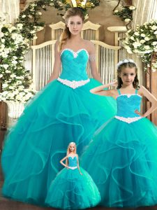 Colorful Aqua Blue Ball Gowns Tulle Sweetheart Sleeveless Ruffles Floor Length Lace Up Sweet 16 Quinceanera Dress