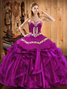 Fitting Fuchsia Sleeveless Embroidery and Ruffles Floor Length Ball Gown Prom Dress