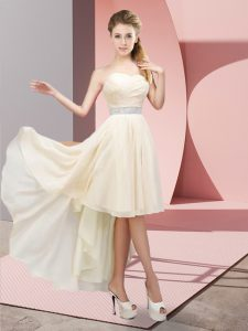 Sweetheart Sleeveless Quinceanera Court Dresses High Low Beading Champagne Chiffon