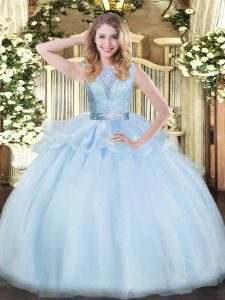 Eye-catching Floor Length Lavender Quinceanera Gown Organza Sleeveless Lace