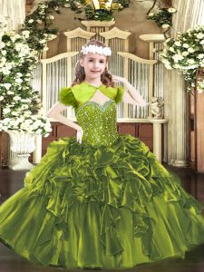 Straps Sleeveless Lace Up Winning Pageant Gowns Olive Green Organza