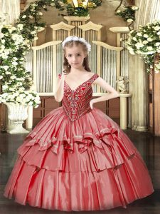 Coral Red Lace Up V-neck Beading and Ruffled Layers Winning Pageant Gowns Organza Sleeveless