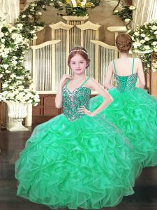 Floor Length Turquoise Glitz Pageant Dress Organza Sleeveless Beading and Ruffles
