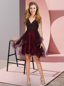 Burgundy A-line Tulle V-neck Sleeveless Appliques and Ruffles Knee Length Backless Dama Dress