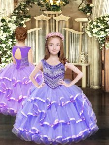 Scoop Sleeveless Lace Up Pageant Dress for Teens Lavender Organza