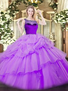 Sleeveless Floor Length Beading and Pick Ups Zipper Ball Gown Prom Dress with Lavender