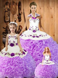 Shining Sleeveless Satin and Fabric With Rolling Flowers Floor Length Lace Up Quinceanera Dress in Lilac with Embroidery