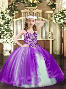 Purple Tulle Lace Up Pageant Dress for Teens Sleeveless Floor Length Beading