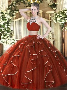 Hot Sale Floor Length Rust Red Quinceanera Gown Tulle Sleeveless Beading and Ruffles