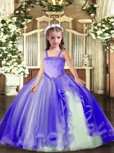 Excellent Lavender Ball Gowns Appliques Pageant Dress Womens Lace Up Tulle Sleeveless Floor Length