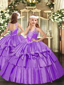 Sweet Lavender Ball Gowns Beading and Ruffled Layers Pageant Dress Wholesale Lace Up Organza Sleeveless Floor Length
