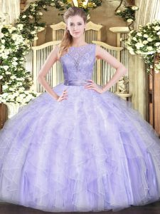 Unique Lavender Ball Gowns Scoop Sleeveless Organza Floor Length Backless Beading and Ruffles Quince Ball Gowns