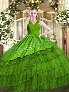Chic Floor Length Olive Green Quinceanera Dresses V-neck Sleeveless Zipper