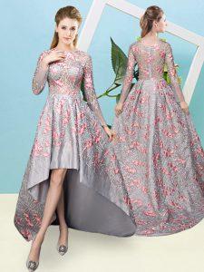 Elegant A-line Damas Dress Grey Scoop Lace Long Sleeves High Low Zipper