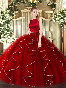 Cheap Wine Red Ball Gowns Organza Scoop Sleeveless Ruffles Floor Length Clasp Handle Quinceanera Gowns