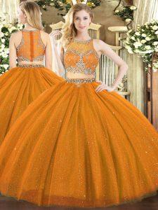 Perfect Sleeveless Zipper Floor Length Beading Sweet 16 Dress