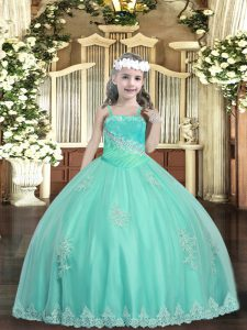 Apple Green Pageant Gowns Party and Sweet 16 and Quinceanera and Wedding Party with Appliques and Sequins Straps Sleeveless Lace Up