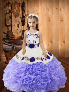 Custom Design Sleeveless Lace Up Floor Length Embroidery and Ruffles Pageant Dress for Teens