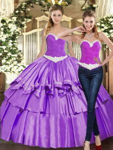 Simple Organza Sleeveless Floor Length Sweet 16 Dresses and Appliques and Ruffles