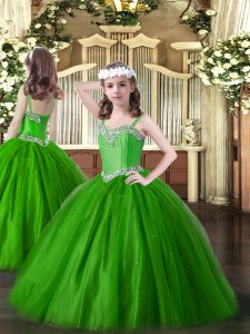 Floor Length Green Pageant Gowns For Girls Tulle Sleeveless Beading