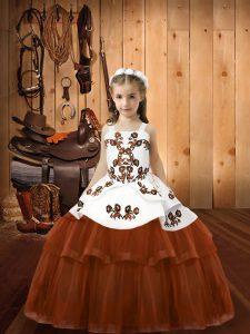 Brown Sleeveless Embroidery Floor Length Little Girls Pageant Dress