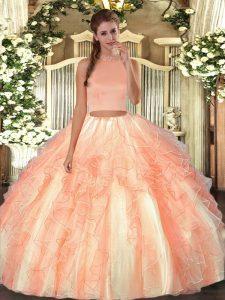Modern Orange Red Halter Top Neckline Beading and Ruffles 15 Quinceanera Dress Sleeveless Backless