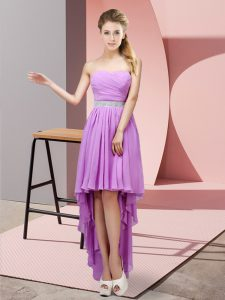 Pretty Chiffon Sweetheart Sleeveless Lace Up Beading Court Dresses for Sweet 16 in Lavender