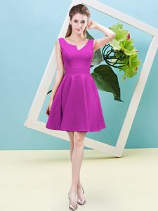 Fuchsia Asymmetric Neckline Ruching Quinceanera Court Dresses Sleeveless Zipper