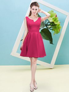 On Sale Hot Pink Satin Zipper Quinceanera Court of Honor Dress Sleeveless Mini Length Ruching