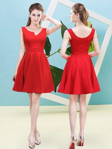 Fabulous Red Vestidos de Damas Prom and Party and Wedding Party with Ruching Asymmetric Sleeveless Zipper