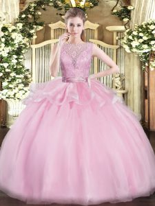 Fabulous Baby Pink Sleeveless Floor Length Lace Backless Quince Ball Gowns