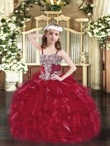Enchanting Wine Red Little Girl Pageant Gowns Party and Quinceanera with Appliques and Ruffles Straps Sleeveless Lace Up