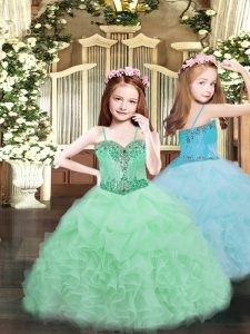 Organza Spaghetti Straps Sleeveless Lace Up Beading and Ruffles and Pick Ups Pageant Dress Toddler in Apple Green