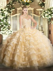 Dynamic Champagne Ball Gowns Beading and Ruffled Layers Quinceanera Dress Lace Up Organza Sleeveless Floor Length