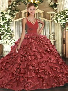 Captivating Red Ball Gowns Taffeta V-neck Sleeveless Beading and Ruffles Floor Length Backless Vestidos de Quinceanera