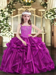 Classical Fuchsia Organza Lace Up Pageant Dress for Girls Sleeveless Floor Length Beading and Ruffles
