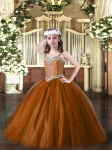 Sleeveless Lace Up Floor Length Beading Winning Pageant Gowns