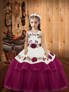 Fuchsia Sleeveless Floor Length Embroidery and Ruffled Layers Lace Up Kids Formal Wear