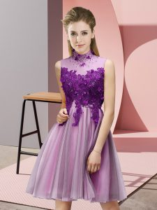 Unique Lilac Quinceanera Court Dresses Prom and Party and Wedding Party with Appliques High-neck Sleeveless Lace Up