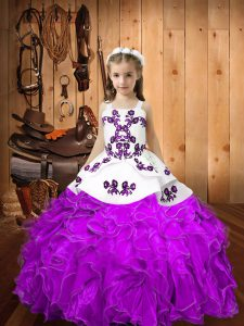Floor Length Lace Up Pageant Dress Toddler Eggplant Purple for Sweet 16 and Quinceanera with Embroidery and Ruffles
